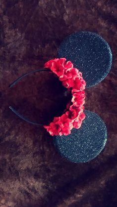 glitter & flower Minnie Mouse ears