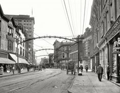 "Norfolk, Virginia, circa 1917. ""Main Street."" The port city's bustling business district. 8x10 inch glass negative, Detroit Publishing Company."