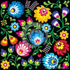 Illustration of Floral Polish folk art pattern on black - Wzory Lowickie, Wycinanki vector art, clipart and stock vectors. Embroidery Designs, Folk Embroidery, Design Floral, Motif Floral, Indian Folk Art, Mexican Folk Art, Folk Art Flowers, Flower Art, Bordado Popular