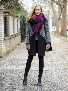 colorblock coat, gray sweater, printed scarf, black skinny jeans, black booties