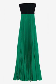 GreenIntermix Alexis Exclusive Maxi Dress. Strapless empire gown with dark green velvet top and pleated kelly green skirt.