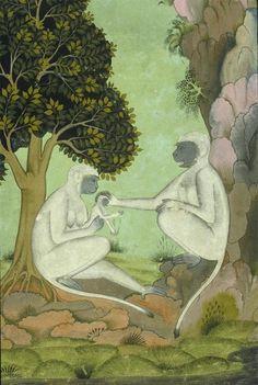 Rajput, Rajasthani, Mewar school -Interpretation of a Dream: Vision of the Monkeys - c.1700
