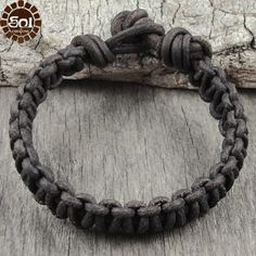 Mens Brown Leather Cord Knotted Bracelet Cuff. $16.50, via Etsy.
