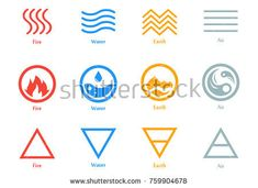 Vector illustration of four elements icons, line, triangle and round symbols set. Logo template. Wind, fire, water, earth symbol. Pictograph - compre este vetor na Shutterstock e encontre outras imagens. Earth Symbols, Wiccan Symbols, Moon Symbols, Ancient Symbols, Element Tattoo, Flame Tattoos, Symbol Tattoos, Air Symbol, Earth Air Fire Water