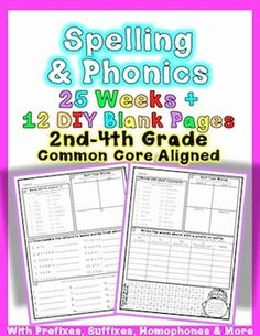 """This packet is filled with word study fun! Aligned to Common Core Foundational Skills for 2nd, 3rd, and 4th Grades. In this unit, you will find 25 sheets of phonics and spelling practice. Also included are 12 """"Do it yourself"""" fill in sheets. Use this word work packet for homework or to supplement your current curriculum."""