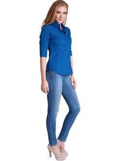 Three Quarter Sleeve Button Up Blouse #buttonup #blouse #dressupshirt