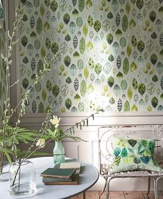 Designers Guild Tulsi - Next Day Delivery, Designers Guild Wallpaper, Leaf Drawing, Botanical Wallpaper, French Cottage, Abstract Styles, Valance Curtains, Small Spaces, Living Spaces