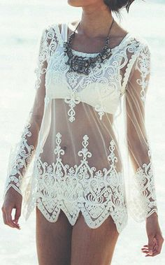 I have this cover-up - wear it to the beach over my bikini. The necklace just isn't for me re: beachwear. Maybe if I pair it with a camisole and skirt for a date outfit