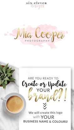 203  Mia Cooper  LOGO Premade Logo Design Branding Blog - Modern Branding Solutions for your business - Logos for your business, boutique or blog. Blogger header, Blog Header and social media. Photography Logos, Business Logos, Boutique Logos, Shop Logos, Brand Logos, Pink, Watercolour, Gold,