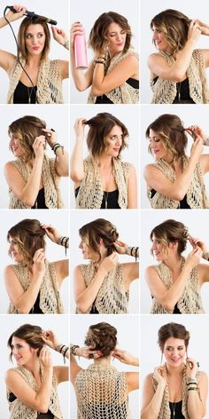 How To Updo Short Hair Youtube With Picture Step By Step