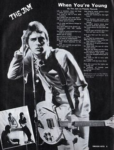 Paul Weller of The Jam. Music Jam, 70s Music, Music Icon, Classic Rock Artists, Band Posters, Music Posters, The Style Council, 70s Punk, Paul Weller