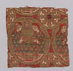 Object Name:      Fragment  Date:      13th century  Geography:      Spain  Medium:      Silk, gilt animal substrate around a silk core; lampas  Dimensions:      Textile: H. 4 1/16 in. (10.3 cm) W. 4 1/4 in. (10.8 cm) Mat: H. 12 in. (30.5 cm) W. 8 3/4 in. (22.2 cm)  Classification:      Textiles-Woven  Credit Line:      Rogers Fund, 1928  Accession Number:      28.194