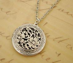 Round Silver Medallion Locket Necklace Wedding Jewelry Bride Mom Birthday Anniversary Wife Daughter - Aliza