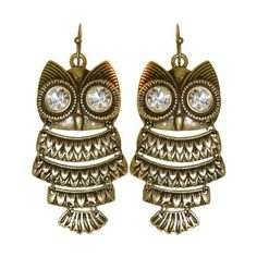 """1.75"""" Articulated Owl Earrings With Big Rhinestone Eyes In Antique... ❤ liked on Polyvore"""