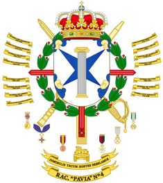 Regimiento Acorazado «Pavía» - Wikipedia, la enciclopedia libre Mystery Of History, Family Crest, Coat Of Arms, Spanish, Army, Flag, Italy, Flags, World