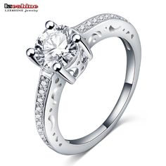 LZESHINE Top Quality Silver Color Finger Rings Women Elegant Jewelry CZ Stone  Austrian Crystal Wholesale CRI0140-B