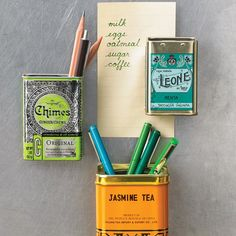 Use vintage tins to make refrigerator magnets that double as pencil cups or storage for small items.