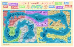 """Vintage route map for the """"It's A Small World"""" attraction at Disneyland. Disney Parks, Disney Tips, Walt Disney, Retro Disney, Disney Love, Disney Stuff, Disney Nerd, Disney Magic Kingdom, Vintage Disneyland"""