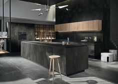 /Snaidero Year: 2017 Way Ceramica Kitchen Laminam 12+ Ossido, Nero 1620x3240
