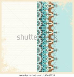 Vintage card. Oriental floral pattern on vintage background. Shabby surface. Place for your text. Perfect for greetings, invitations or announcements. Raster copy of the vector. - stock photo