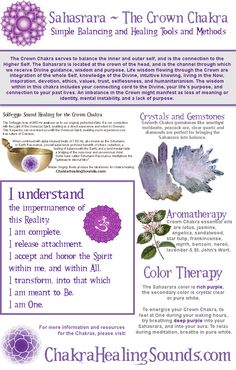 Sahasrara or Crown Chakra balancing, with crystals, gemstones, aromatherapy, color therapy, sound and affirmations. For more information and resources, visit our webpage.