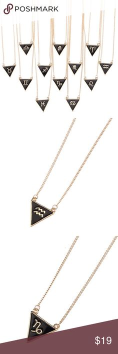 "Zodiac Necklaces This listing is for (1) Necklace. Perfect and simple black & gold geometric triangle pendants (0.8"") on a 16"" chain. Zinc alloy material.  15% off all bundles of 2+ items I try to ship within 48 hrs NO TRADES/PP Free Bird Corner Jewelry Necklaces"