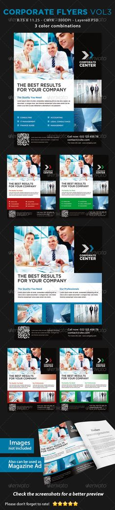Corporate Flyers Vol3  #GraphicRiver        Corporate Flyers Vol3  This flyer can be used in any business like consulting,corporate etc.  Check the Screenshot for a better preview!    CMYK Color profile  8.75×11.25 including 0.25 bleed  300 DPI  Easy to Edit  Organized layers  Ready to print  2 PSDs  3 color combinations each   Font Used: Gotham:  .typography /fonts/gotham/styles/   Free alternative font:  .fontspace /julieta-ulanovsky/montserrat  Arial (system font):  .fonts…
