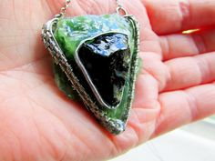 Nephrite Jade Shungite  Wire Wrapped Pendant Selenite Slab Perfect Balance Large Viking Knit Jade Shungite Necklace Viking Knit, Wire Weaving, Stainless Steel Chain, Wire Wrapped Pendant, Hippie Boho, Earring Set, Jade, Silver Rings, Pendants