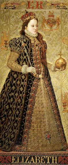 Elizabeth I, Queen of England. First cousin once removed, at least 3 lines, several generations back, was daughter of Anne Boleyn & Henry VIII, of England. (see our Cogburn-Poston ancestry chart) By Richard Burchett Oil on panel, 1850's