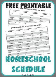 Printable Homeschool Schedule - Teach Beside Me