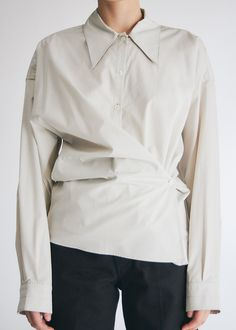 Lemaire New Twisted Shirt in Ice Grey