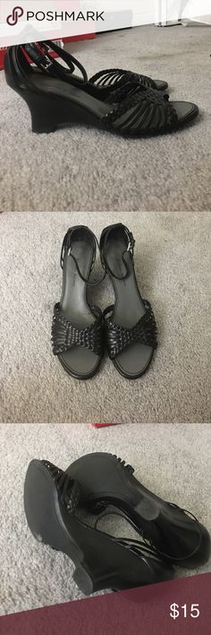Etienne Aigner wedge sandals Pre-owned and loved ❤️ these are so comfy and adorable. Heel height is about 2.5in. Needs a new home. Etienne Aigner Shoes Wedges