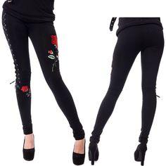 Vixxsin Poizen Industries Rose Corset Laced Femme Leggings-NOUVEAU-Goth Emo