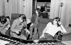 """Pink Floyd mixing """"Obscured by Clouds"""" in February 1972. Studio Strawberry, Chateau d'Hérouville, France"""