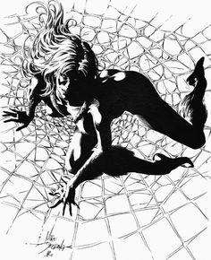 Black Cat by Mike Deodato Jr. Comic Book Pages, Comic Book Artists, Comic Artist, Comic Books Art, Cartoon Sketch Drawing, Black Cat Drawing, Jr Art, Marvel Art, Marvel Comics