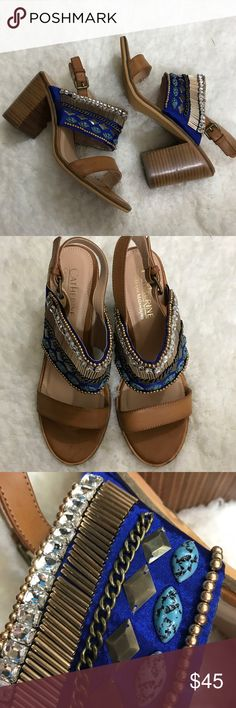 Catherine Malandrino beige leather Beaded sandals Catherine Malandrino Beaded sandals. New without box. Size 9. Heel height of 3.5. Thanks for looking. Happy Poshing! Catherine Malandrino Shoes Sandals