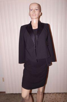Talbots Petites sz 2 dress suit dress jacket mesh long sleeve curvy black career #Talbots #WigglePencil #career