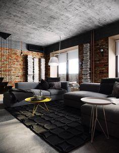 Loft Apartment Bedroom Brick Walls Ideas Check Image on my website. Loft Style Bedroom, Style Loft, Loft Design, House Design, Living Room Decor, Living Spaces, Loft Stil, Interior Design Career, Urban Loft