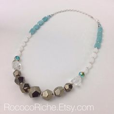 Sterling Silver and Pyrite Necklace, Color Blocking Symmetrical Necklace, Light Blue and Silver Necklace, Frozen Ice Queen Necklace on Etsy, $89.00