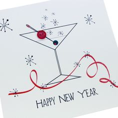 handmade christmas new year card celebrate cocktail glass cherry party happy new year