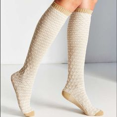 NWT Diamond Jacquard Over the Knee Sock Super cozy over-the-knee socks in a tonal diamond knit topped with ribbed hems. Content + Care- 99 % Polyester, 1% spandex Urban Outfitters Accessories Hosiery & Socks