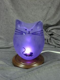Mouse Cat Lamp by GlassCatsStudios on Etsy, $116.00