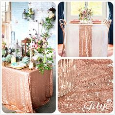 Amazon.com - 14''x108'' Royal Rose Gold Sequin Table Runner, Sequin Table Cloth, Sequin Tablecloths, Sequin Linens -