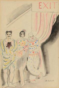 (CHARLES LABORDE DIT) CHAS LABORDE (BUENOS-AIRES 1886 - PARIS 1941) Sortie de scène Aquarelle et traits de plume 20 x 13 cm
