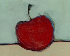 Red Still Life  Original Painting  8 by 8 inches  by modernshape, $60.00