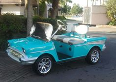 A 57 Chevy custom golf cart body kit can be made to fit a Club, EZ-Go or Yamaha golf cart. #customgolfcartbodykits Custom Golf Cart Bodies, Custom Golf Carts, Golf Cart Body Kits, Custom Body Kits, Yamaha Golf Carts, Fender Flares