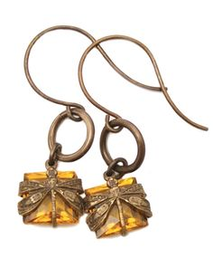 Glowing Dragonfly Earrings ~ Vintaj