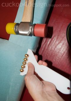 Cuckoo 4 Design: DIY headboard tutorial with individual brass nails, good supplies to have for upholstery