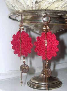 Large Crochet Earrings  Red  Tribal  Bohemian  by Guerillagranny, $15.00