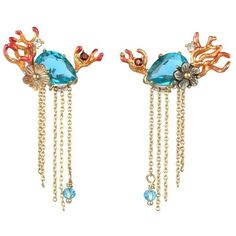 Les Néréides SEA BOTTOM CORAL EARRINGS ($159) ❤ liked on Polyvore featuring jewelry, earrings, jewelry earrings, coral earrings, coral jewelry, les nereides jewelry, earrings jewellery and les nereides earrings